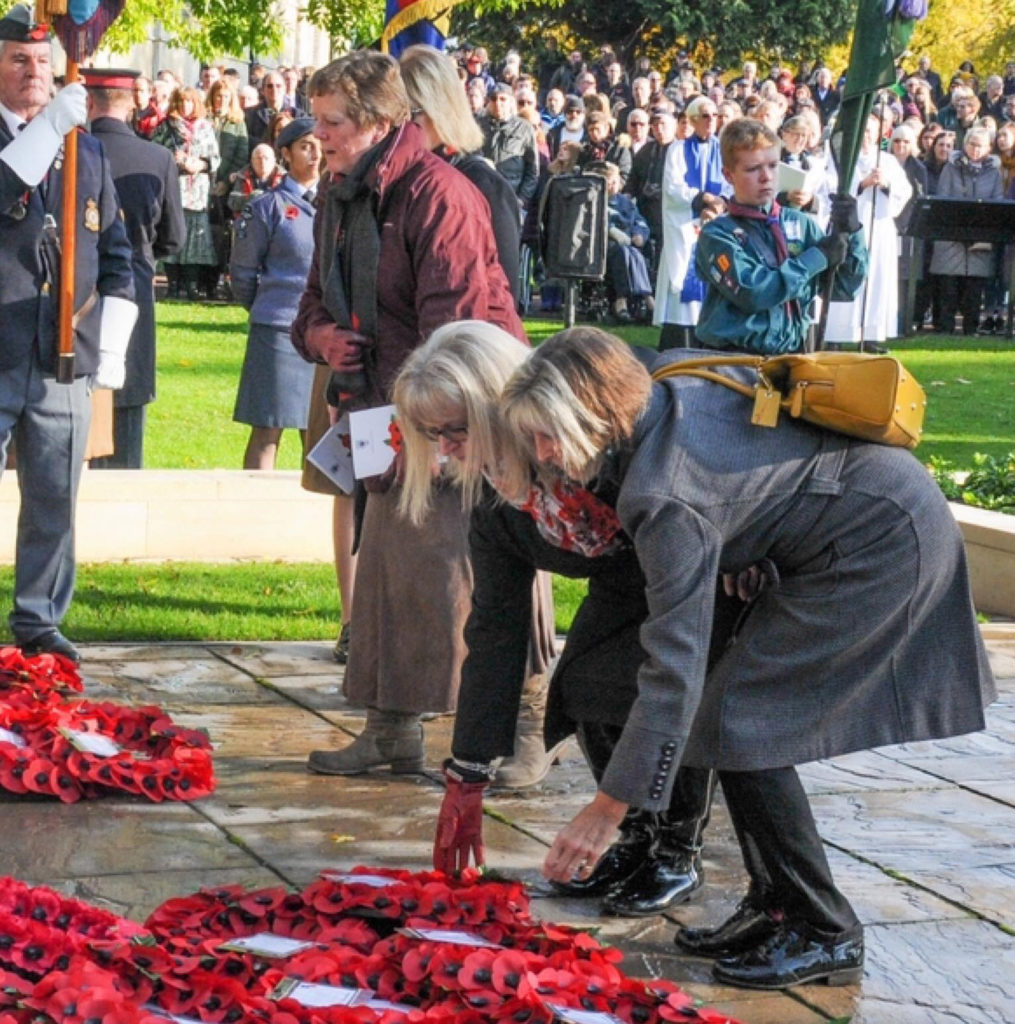 Cofounder and trustee of DLDD Trust Sharon Knott and Sharon Warboys lay a Poppy Wreath on Remembrance Sunday each year.