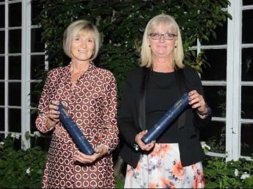 Sharon Knott and Sharon Warboys receiving the Award of Recognition Highly Commended from Kathryn Holloway BPCC & Dunstable Hub Bedfordshire police